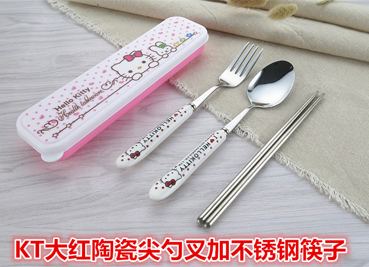 KT red ceramic spoon fork plus stainless steel chopsticks