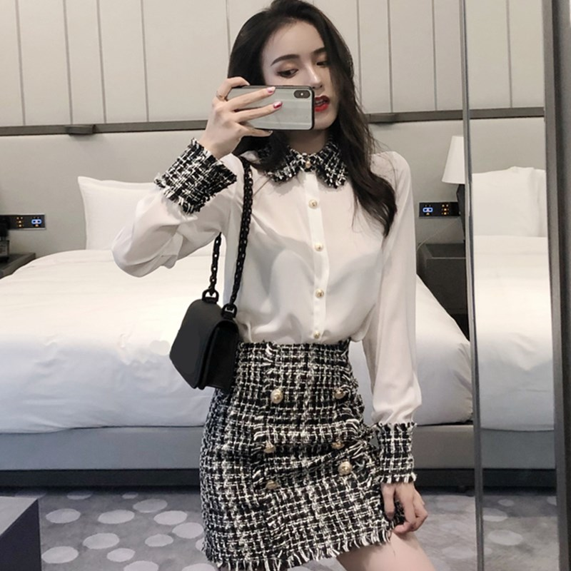 Hong Kong-flavored suit female autumn new small fragrance style foreign wool woolen stitching shirt buckle woolen short skirt chic two-piece