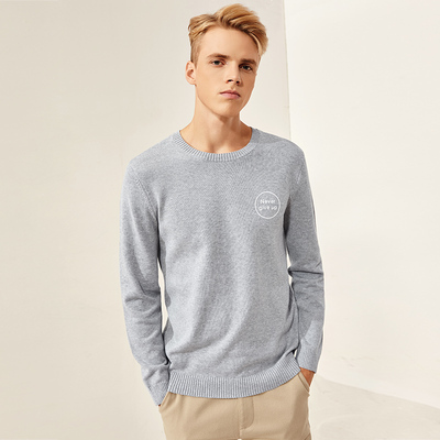 A21 new winter round neck pullover men's casual men's solid color long-sleeved sweater comfortable bottom shirt tide