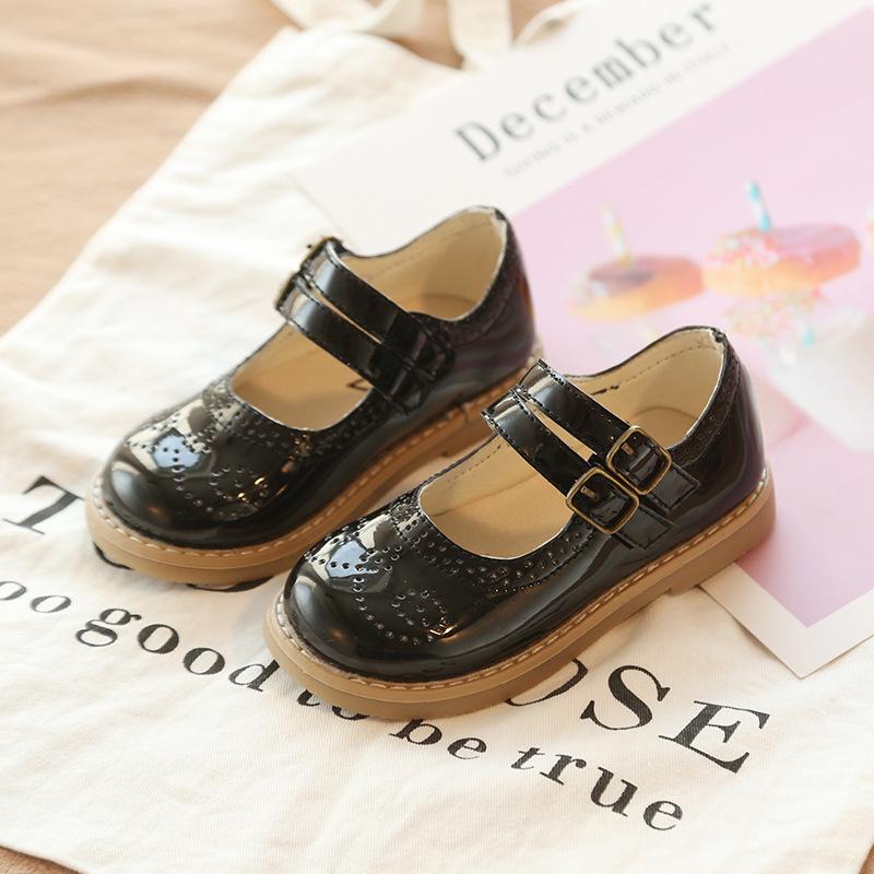 女童皮鞋2019春款小黑皮鞋英伦风公主鞋真皮女宝宝红色小皮鞋软底