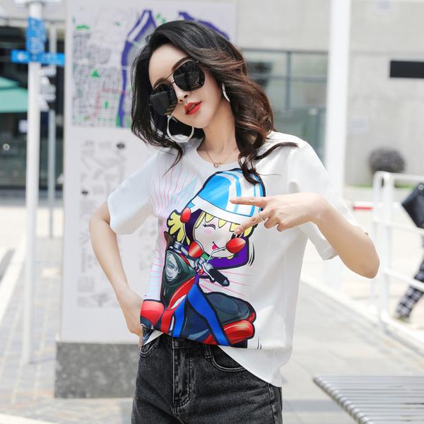 TS13659#夏季新款卡通女孩酷炫时尚宽松圆领t恤短袖女