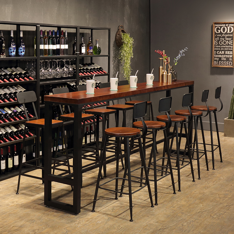 American Wrought Iron Solid Wood Bar Chair Home Bar Table Table And - Long cafe table