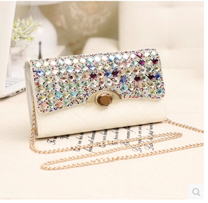 New Women's Party Handbag Exquisite beaded Fish Scales Evening Bags Wedding Dinner Rhinestone Clutch Purse Shoulder Bag