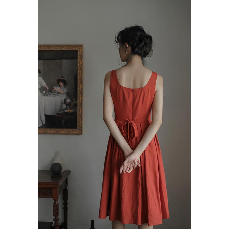 裙子者u领小香风泫雅风ins红色舞蹈显白减龄背心无袖连衣裙夏zz