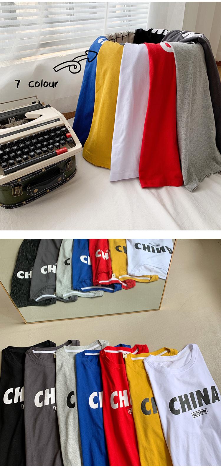 带质检  自主品牌印花圆领短袖T恤大码男装T150 P28(控45)