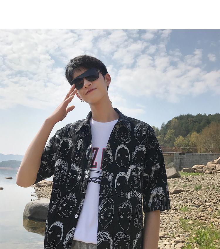 2019夏装新款 人头印花休闲衬衣宽松短袖衬衫CS04 P45(限价58)