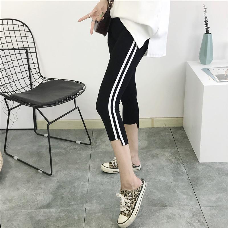 Quần crop top nữ mùa hè sọc mỏng phần trắng viền thun eo đen Hàn Quốc chân nhỏ mặc quần legging thủy triều - Khởi động cắt