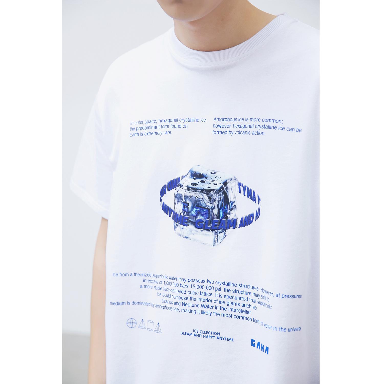 GRINCH1928「GAHA」夏季冰块主题印花短袖T恤男宽松半袖打底TEE潮(【GAHA】夏季冰块主题印花短袖T恤)
