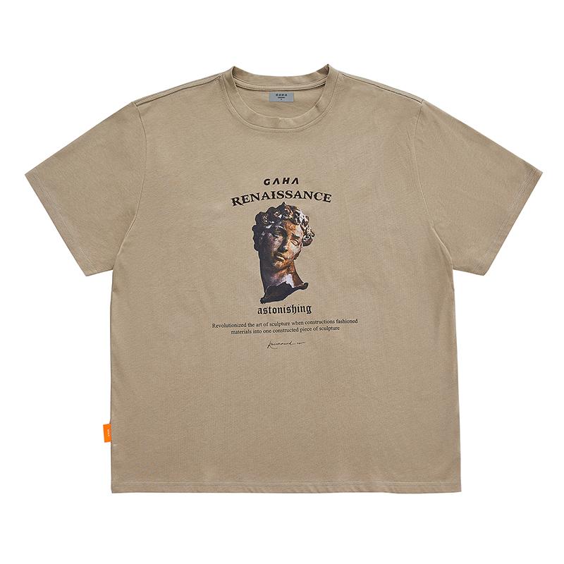 GRINCH1928「GAHA石像系列」复古印花宽松短袖T恤男女情侣夏季TEE(GAHA石像系列复古印花宽松短袖T恤)