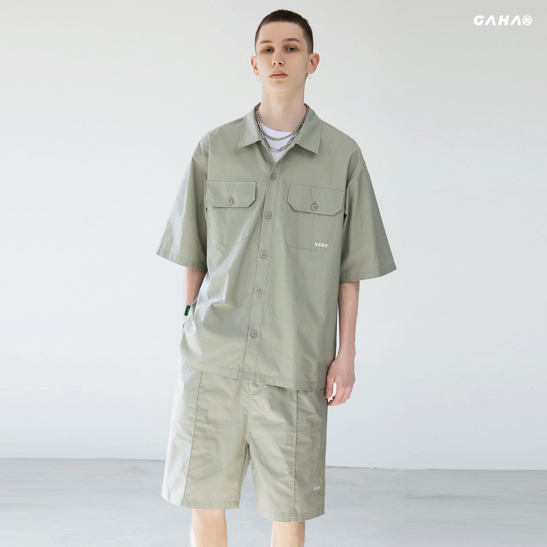 GRINCH1928「GAHA」品牌刺绣日系工装口袋短袖衬衫夹克男套装短裤(「GAHA」品牌刺绣日系工装口袋短袖短裤)
