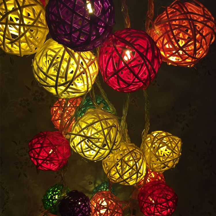 Wedding Lights String Props Handmade Rattan Ball Decorative Rainbow Plug New Models