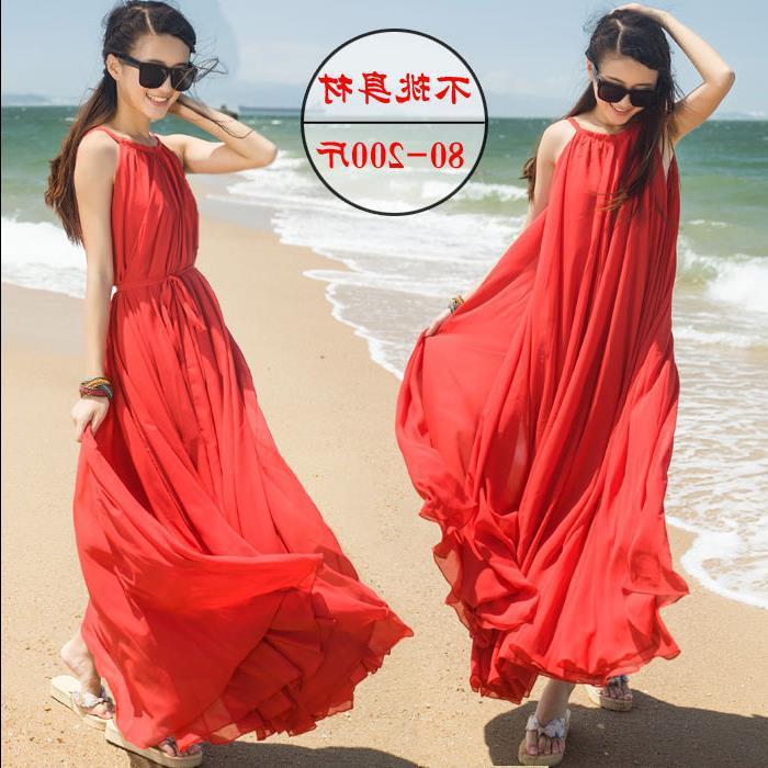超大雪纺夏季沙滩裙摆连衣裙大码波西米亚海边v雪纺大裙摆长裙吊带