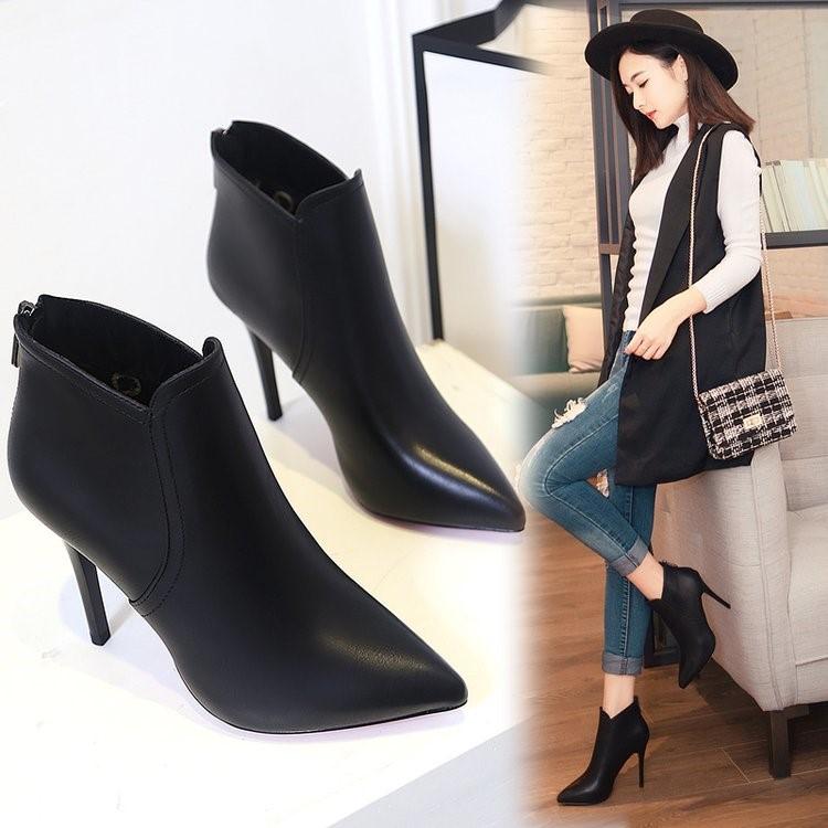 短靴女春秋2018新款冬季鞋子高跟尖头靴子及踝靴细跟马丁靴裸靴女