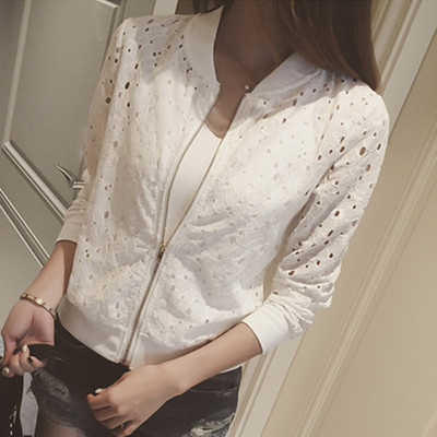 2018 summer new thin hollow hollow color versatile air conditioning shirt zipper cardigan lace sunscreen jacket