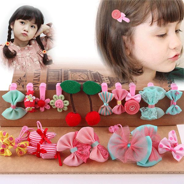 韩国儿童头饰小女孩动物花朵布艺不伤发发圈发绳女童皮筋发饰套装