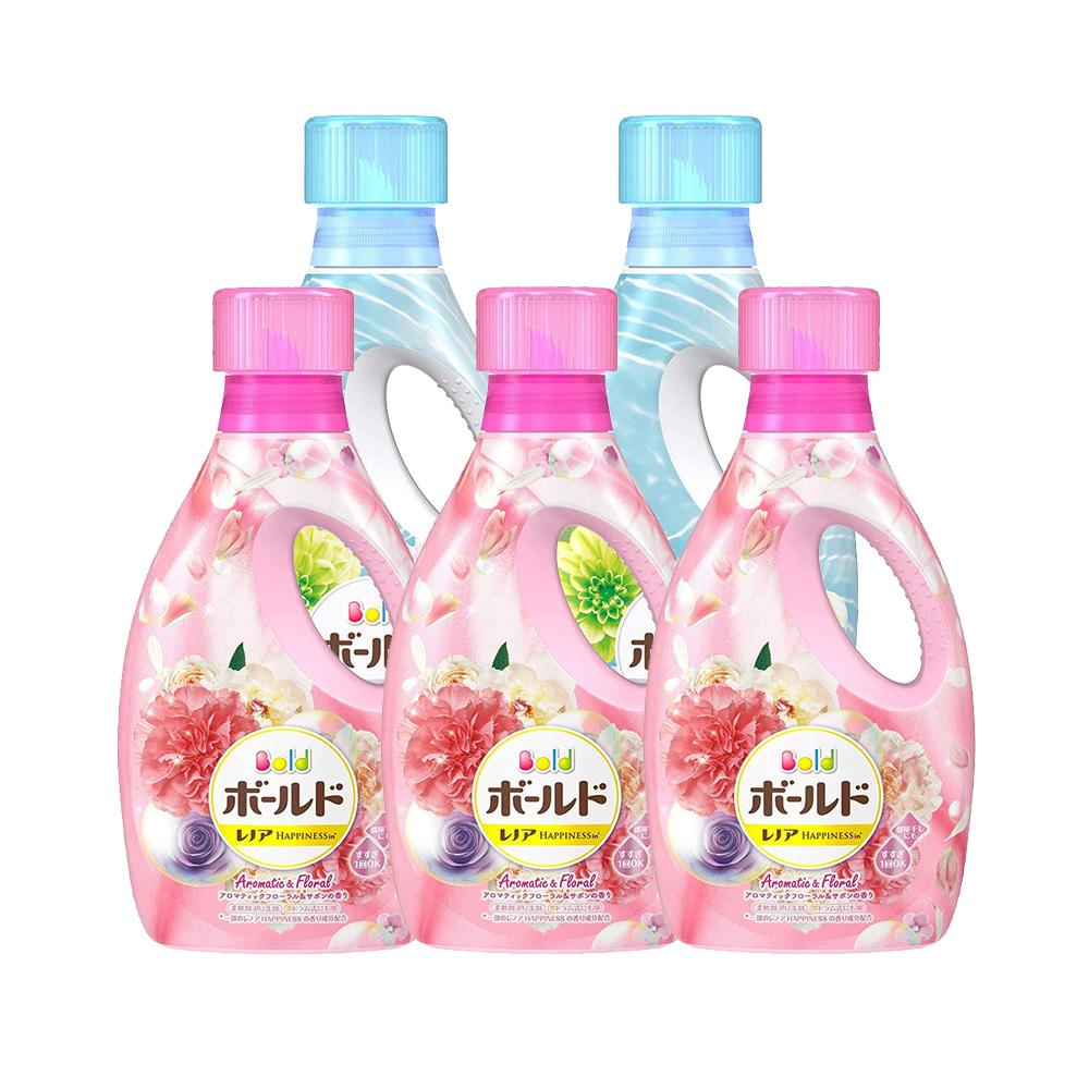 日本进口宝洁Bold洗衣液850g*5瓶组合装内衣清洗液持久花香去污