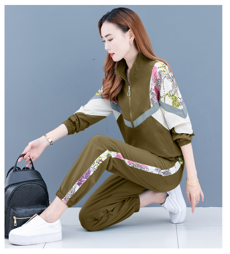 Clearance leisure sports suit women's spring and autumn 2020 new Korean version of the fashion color printing long sleeves thin two-piece set 57 Online shopping Bangladesh