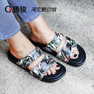 748b84988ca1 Nike Ninja slippers men s genuine black and white 鸳鸯 fashion big logo tide  female summer wear sports sandals 819717