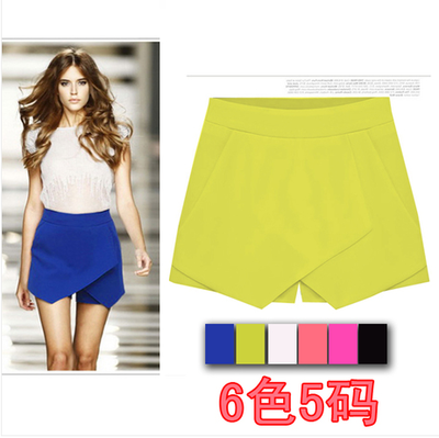 2014 summer new women's first film cross-candy color casual pants shorts summer Korean pants skirt