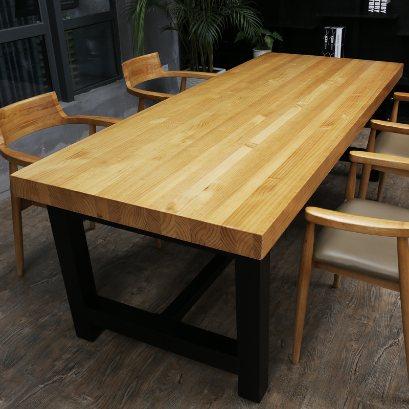 Customized American Loft Wrought Iron Wood Conference Table Long Training  Table Retro Dining Table Square Large Office Original Wooden Table