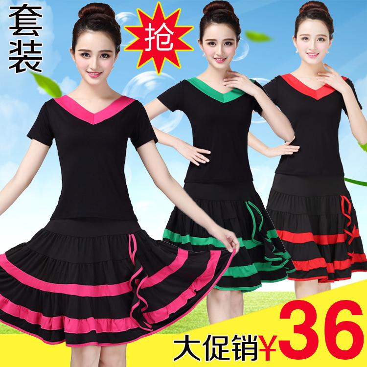 新款广场舞服装中老年运动套装夏季舞蹈服短袖上衣大摆裙演出服女