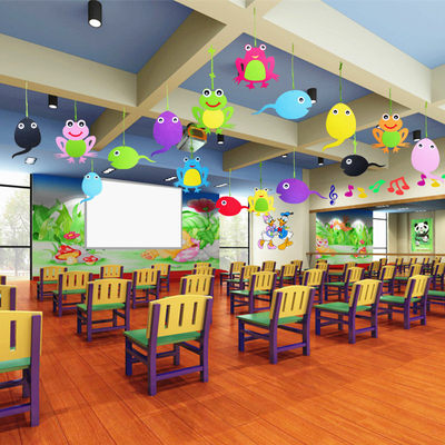 Kindergarten classroom layout hanging children's room hanging indoor dormitory wall creative ceiling cartoon frog decoration