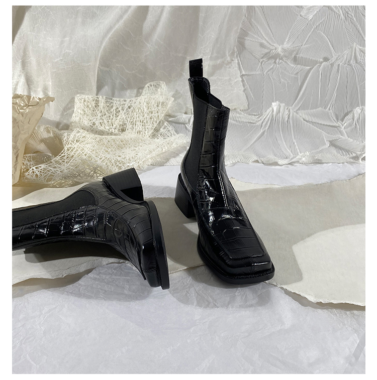墨染·蓮花府邸2121冬季新款短靴英倫帥氣切爾西女靴真皮方頭馬丁靴時尚