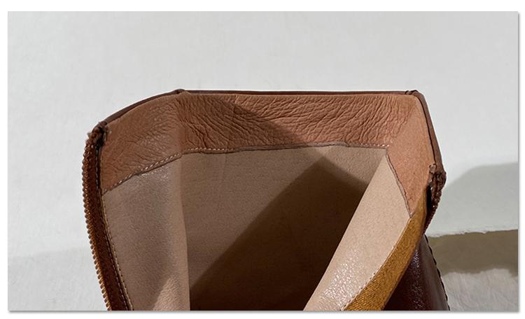 墨染·蓮花府邸冬季時裝靴歐美粗跟女靴簡約真皮復古高跟短筒踝靴及踝靴