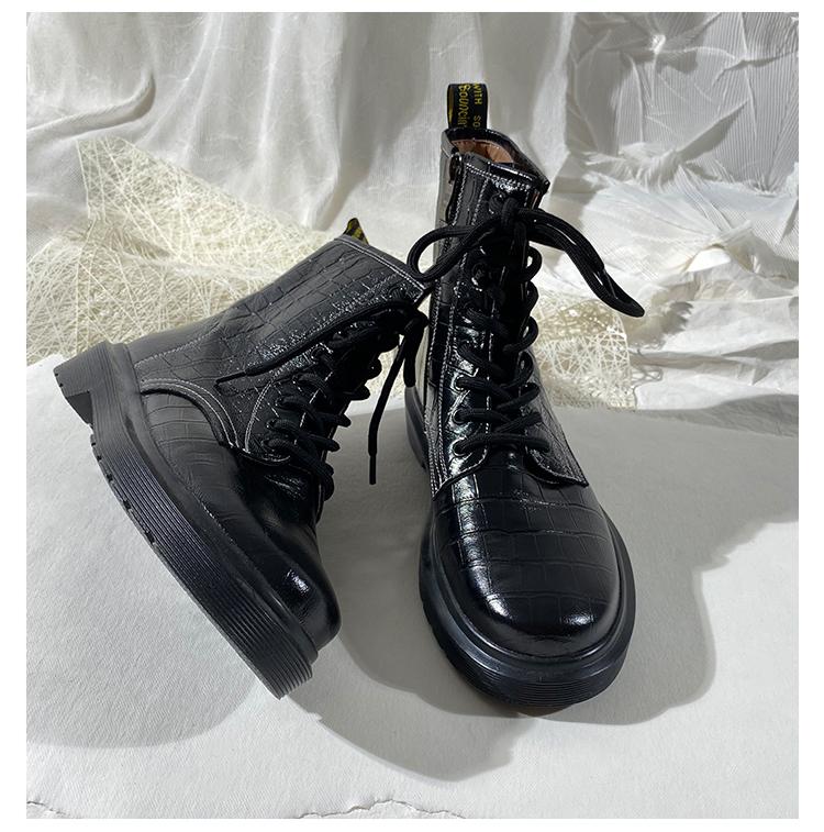 墨染·蓮花府邸冬季馬丁靴系帶圓頭休閒馬丁靴時尚騎士靴酷帥8孔短靴子