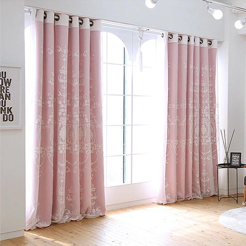 蕾丝窗帘成品优雅公主风卧室落地窗飘窗全遮光梦幻小碎花田园韩式