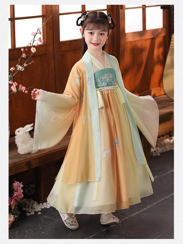 女童汉服古装中国风洋装超仙儿童古风襦裙小女孩长袖唐装春夏款详细照片