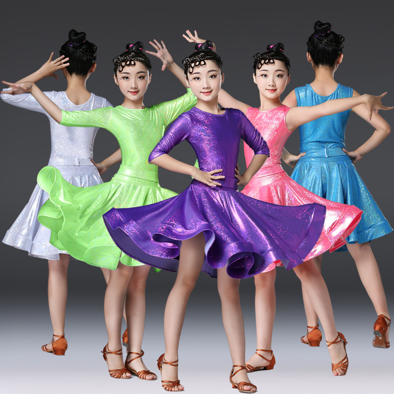 Children's Latin dance dress competition clothing girls' dance practice clothing Heichi children's art test required clothing