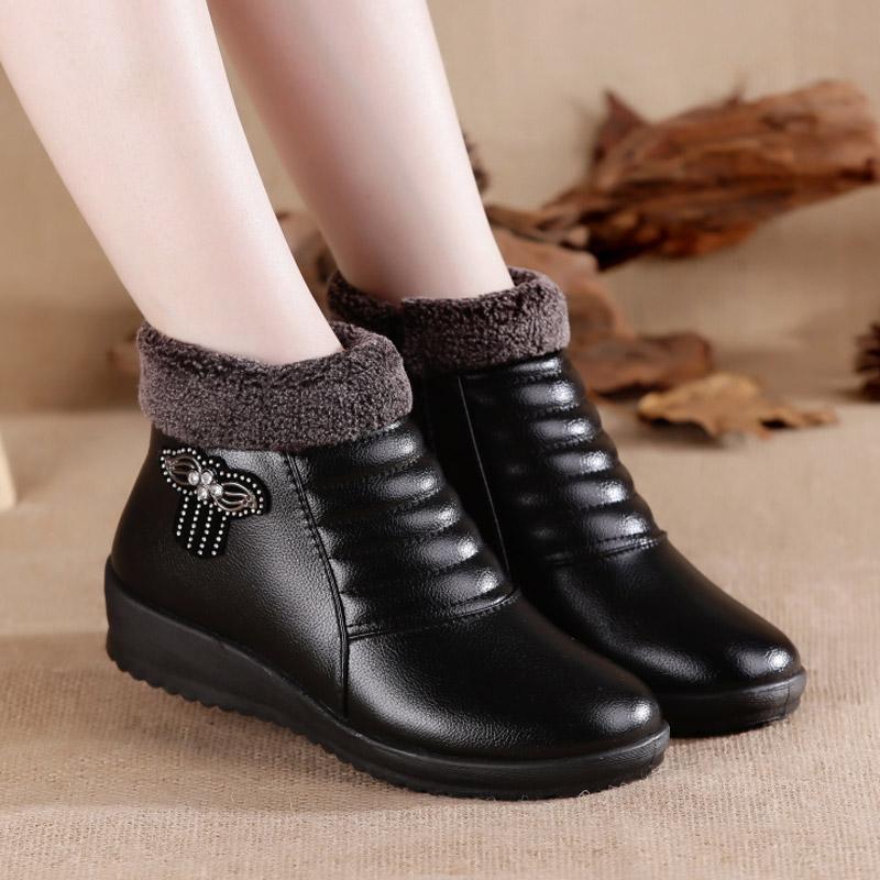2019冬季短靴靴子加绒a靴子平底坡跟妈妈鞋棉鞋防滑防水短筒棉女鞋