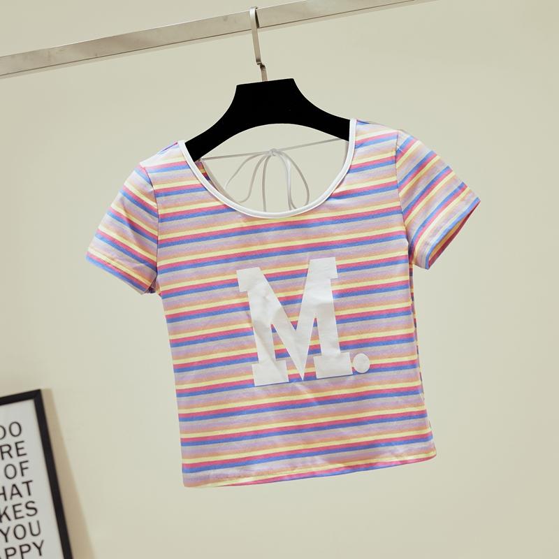 横后背t恤女彩虹彩色条纹短款短袖夏高腰带露机紧身系小心背上衣