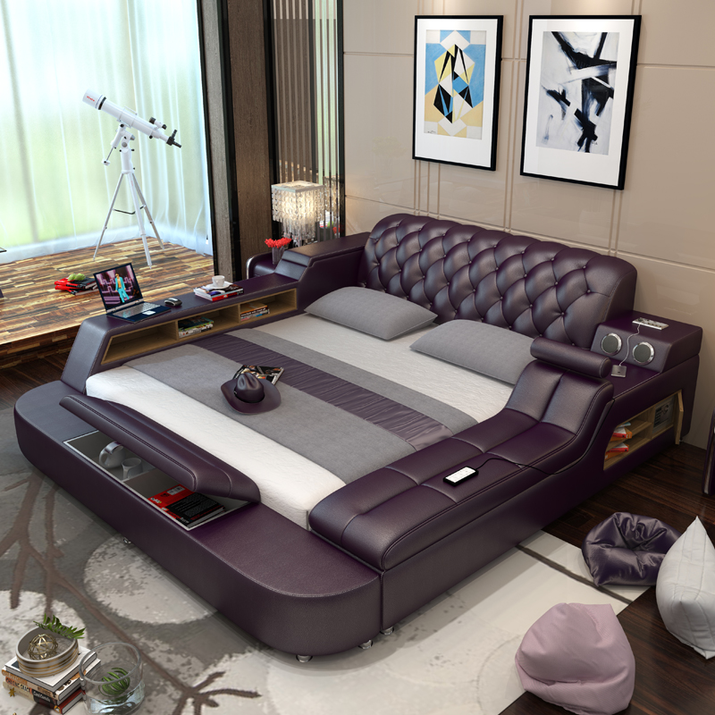 Tatami bed simple modern 1.8 m double bed master bedroom wedding bed massage multifunctional bed storage leather bed & Tatami bed simple modern 1.8 m double bed master bedroom wedding bed ...