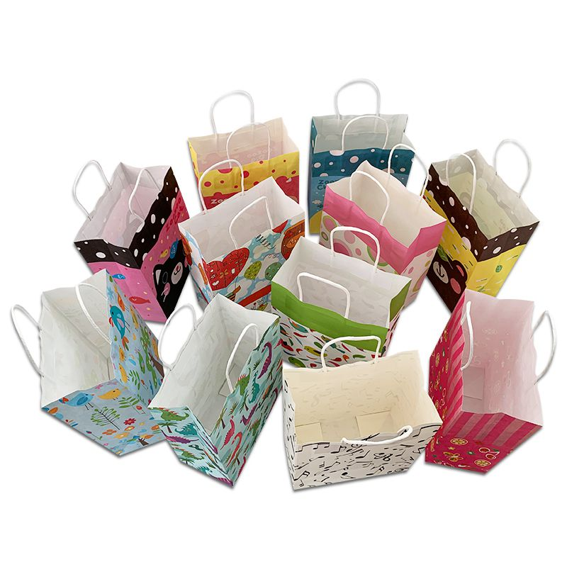 Medium cartoon paper bag gift paper bag birthday paper bag return paper bag handbag 10 8.50 yuan