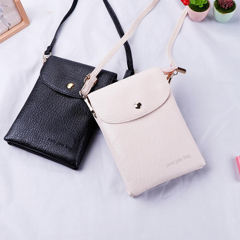Túi đựng điện thoại di động nữ 2018 mới nhỏ túi nữ đồng xu ví chéo túi đơn vai đôi dây kéo túi điện thoại di động dọc - Túi điện thoại