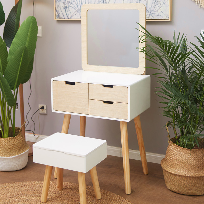 Nordic Dresser Bedroom Small Apartment Plate Mini Simple Modern White Paint Princess Makeup Table Ins