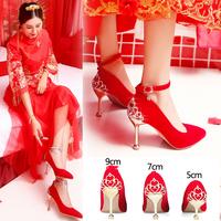Show Wo shoes свадебные туфли женские 2019 новая коллекция красный на высоком каблуке Ботинок с пяткой свадебное красный Поджаривание обуви корейская версия новый Мама обувь