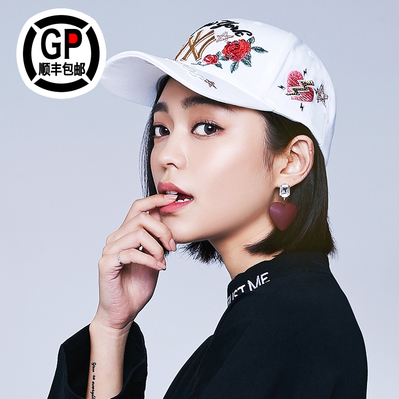 bc8cdcfa South Korea MLB baseball cap genuine 18 autumn and winter men and women NY  cap Yankee Rose bend Eaves hip-hop hat Tide brand