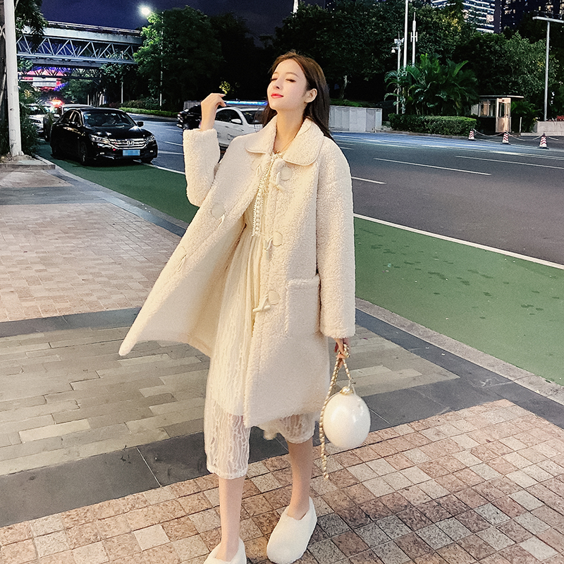 2019冬季新款颗粒绒毛皮一体长袖中长款宽松显瘦仿羊羔绒外套女