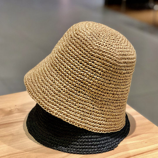 Net celebrity hand-woven straw hat small fresh sunscreen sunscreen hat female Japanese Korean version small eave bucket fisherman hat