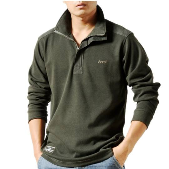 2017 outdoor brand men's authentic long-sleeved T-shirt jeep falow men's large size spring lapel long-sleeved t-shirt