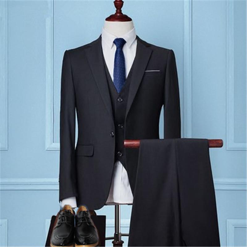 西服三件套装男加肥加大码商务职业工装修身西装伴郎新郎结婚礼服