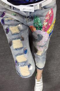 欧洲站牛仔裤女春秋新品九分裤宽松显瘦钉珠破洞亮片烫金小直筒潮