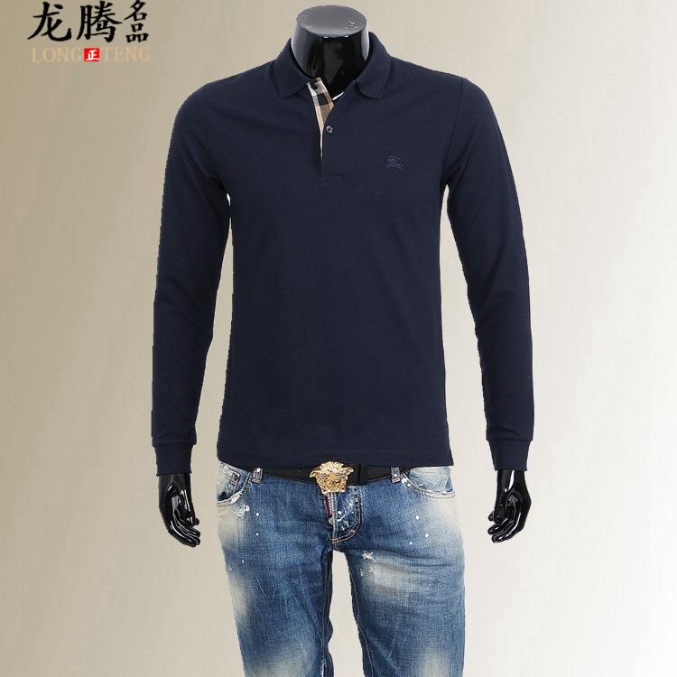 Рубашка поло Длинные подлинной пятно от Burberry от Burberry классические мужские рубашку с длинными рукавами поло T-рубашка осень и зима новый