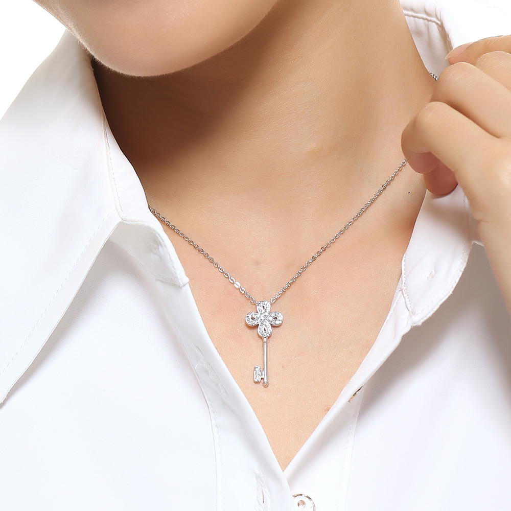 99a5263aa666a Swarovski NOBLE Mini platinum plated key chain pendant necklace female gift  to girlfriend