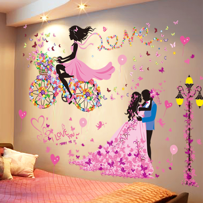 fcb42dee20f Wedding room wall Sticker bedroom warm romantic self-adhesive wallpaper  bedside background wall decorations Street Girl