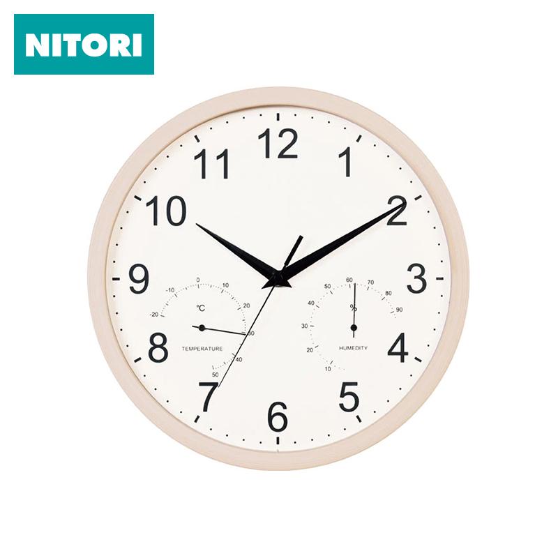 日本NITORI尼达利带温湿度计挂钟圆形家用创意温湿度计客厅钟表