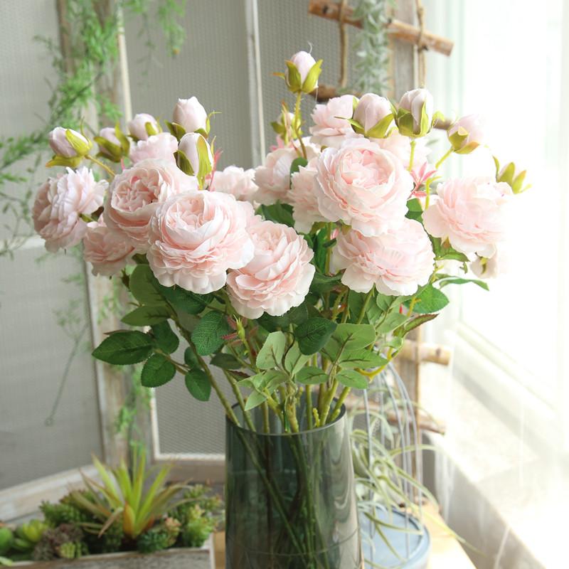 落地牡丹花绢花客厅干花家居玫瑰仿真装饰婚庆假花花束插花摆件